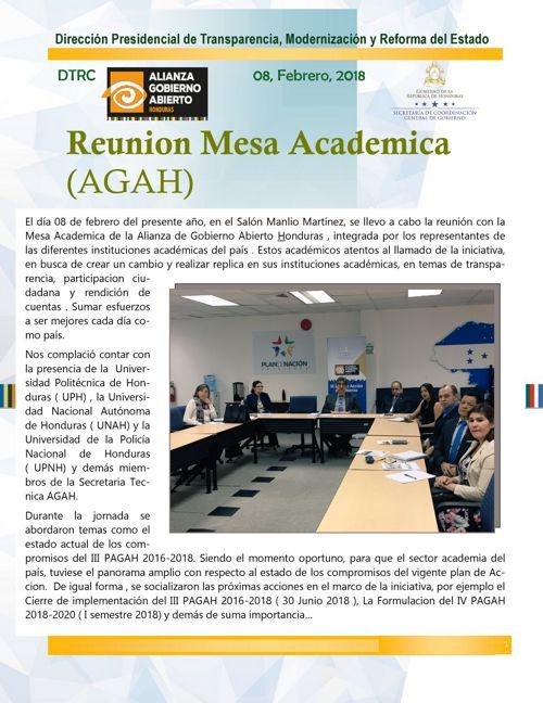 BOLETIN INFORMATIVO - REUNION MESA ACADEMICA- ENERO 2018
