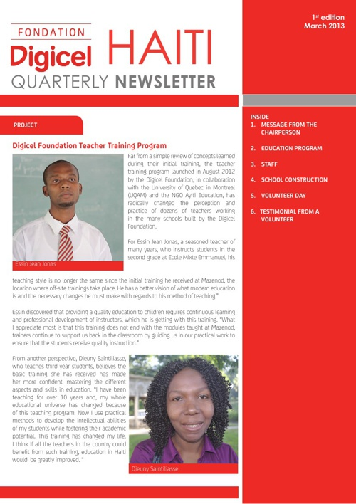 1st Haiti Quarterly Newsletter - March 2013
