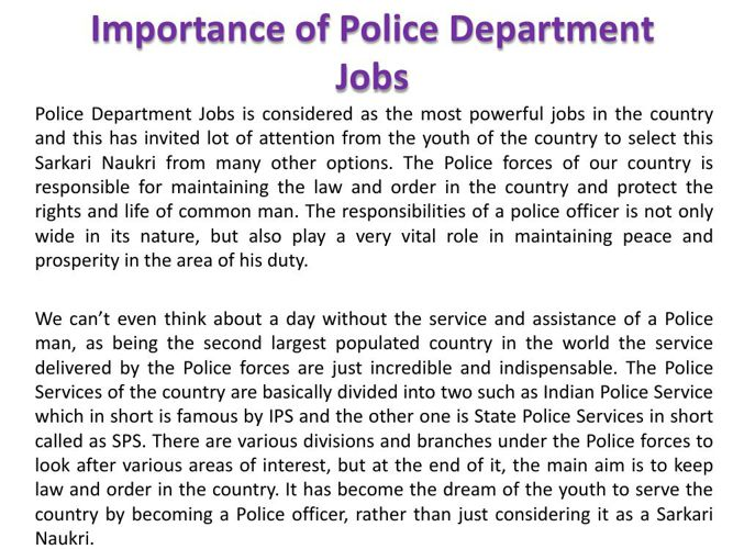 Importance of Police Department Jobs