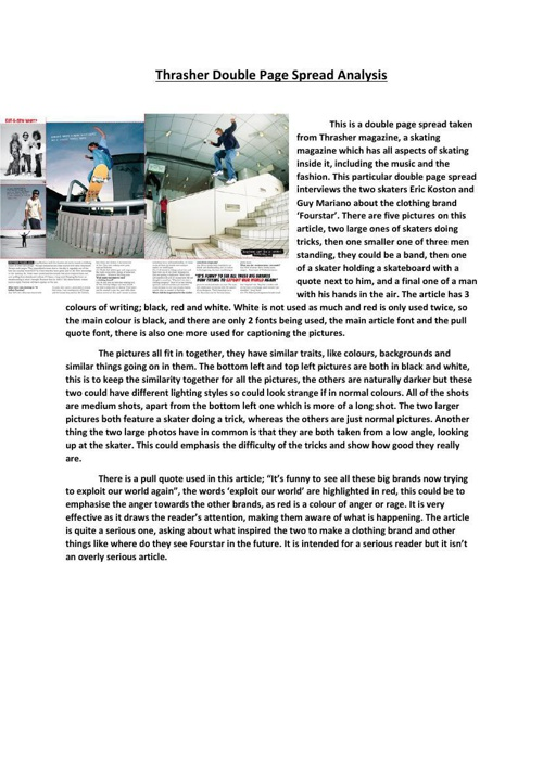 Thrasher Double Page Spread Analysis