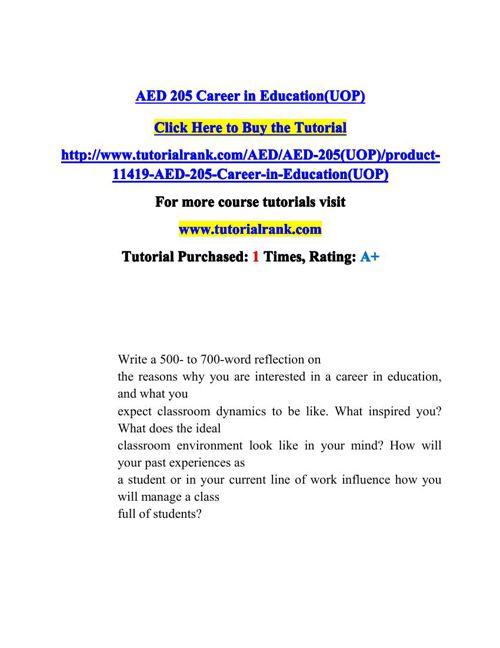AED 205 Potential Instructors / tutorialrank.com