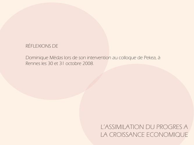 L'ASSIMILATION DU PROGRES A LA CROISSANCE ECONOMIQUE