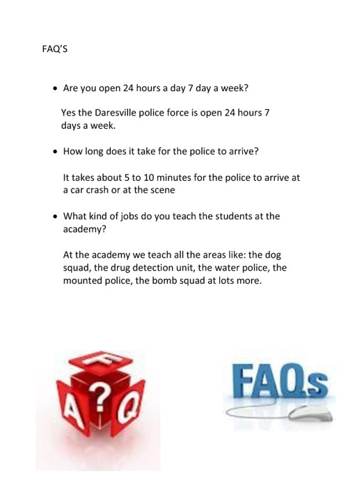 FAQ'S for police website