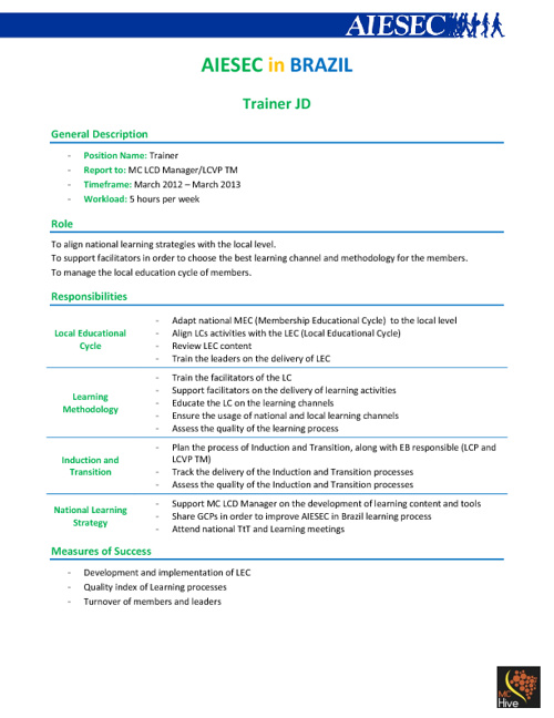 Job Description Trainers