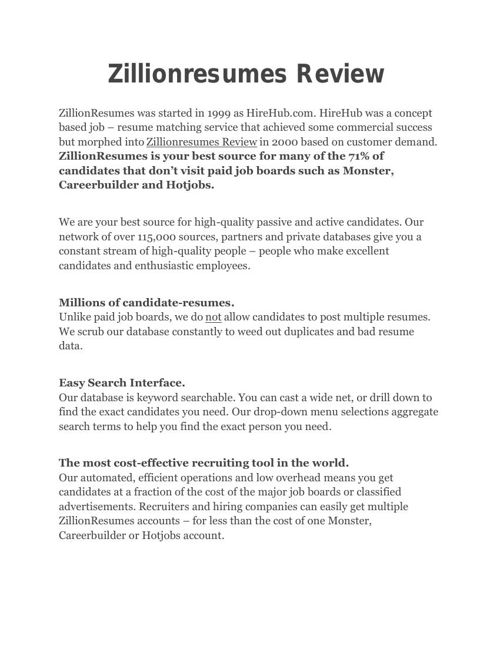 Zillionresumes Review