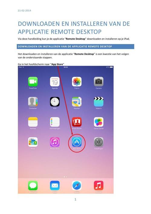 SOH-ICT -Downloaden en Installeren van de applicatie Remote Desk