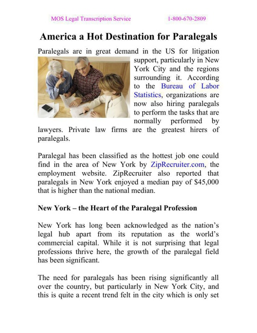 America a Hot Destination for Paralegals