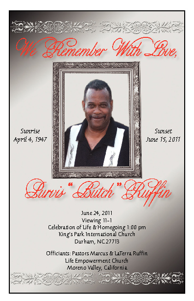 P. Ruffin Funeral Program