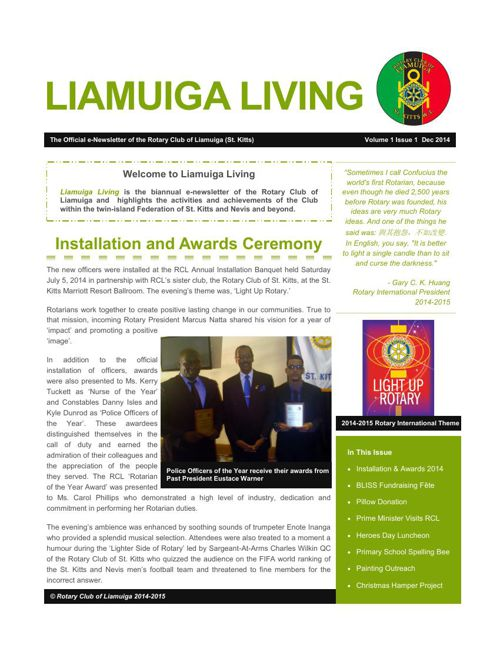 LIAMUIGA LIVING e-Newsletter Vol 1 Iss 1 Dec 2014