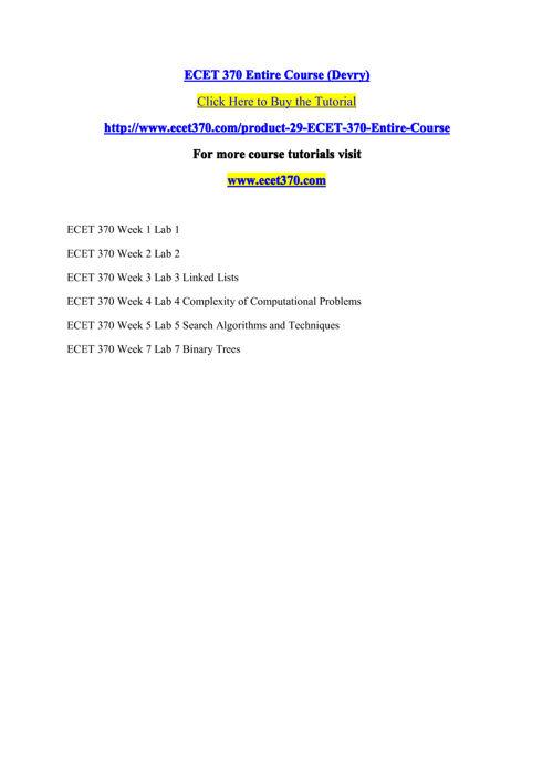 ECET 370 Entire Course (Devry)