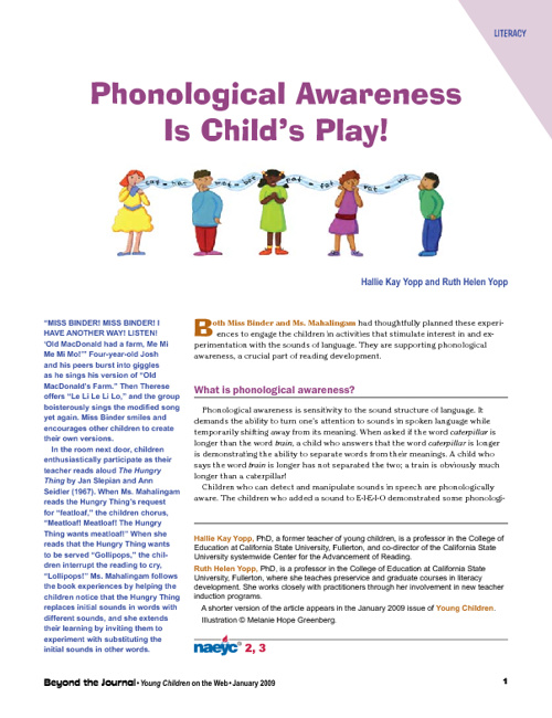 Phonological Awareness is Child's Play