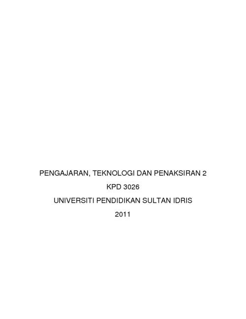KPD 3026 Pengajaran, Teknologi dan Penaksiran