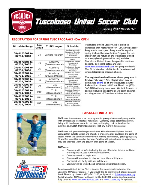 TUSC Newsletters