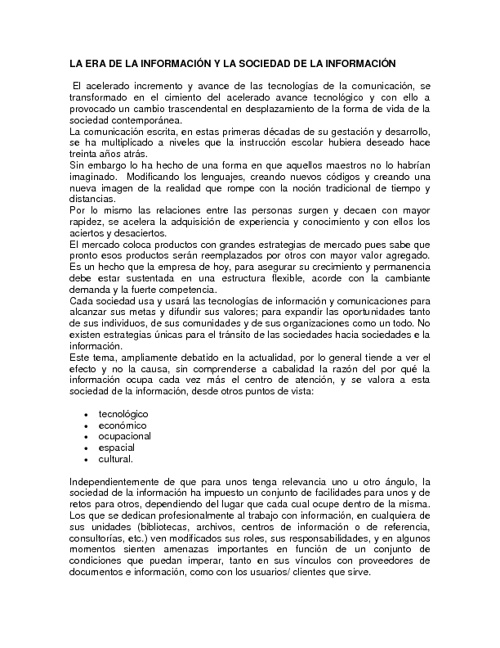 LAS TECNOLOGIAS DE INFORMACION Y SU RELACION CON LA CULRURA