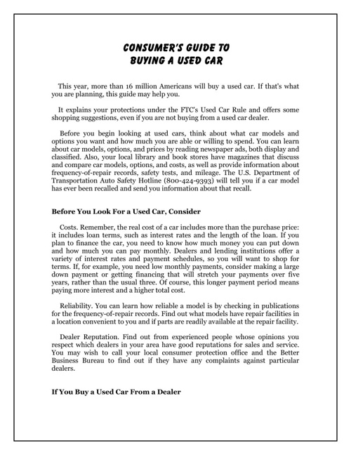 Consumers Guide To Buying A Used Car