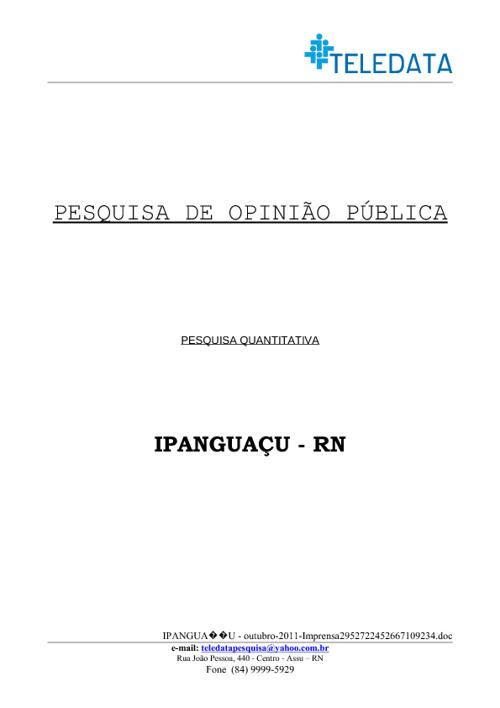 Pesquisa Teledata de Ipanguaçu