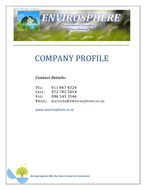 Envirosphere. Environmental Consulting & Town Planning - Profile