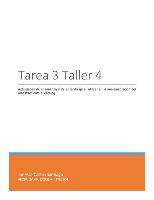 Tarea 3 Taller 4 Actividades y Estrategias Adiestramiento E lear