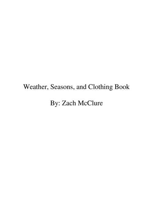 Weather, Seasons,and Clothing Book