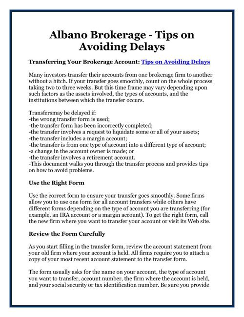 Albano Brokerage - Tips on Avoiding Delays