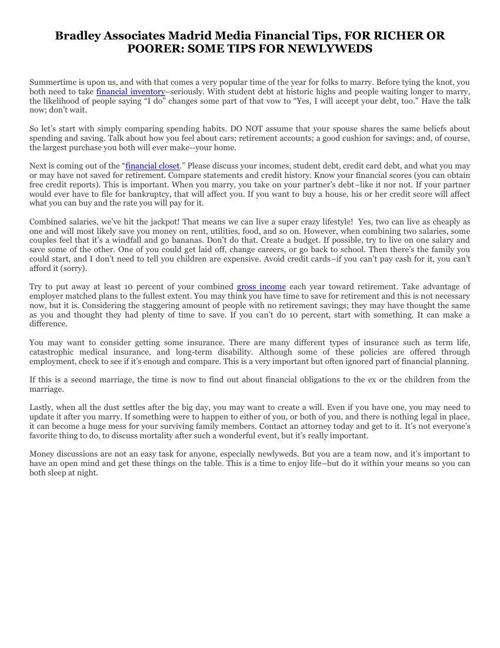 Bradley Associates Madrid Media Financial Tips, FOR RICHER OR PO