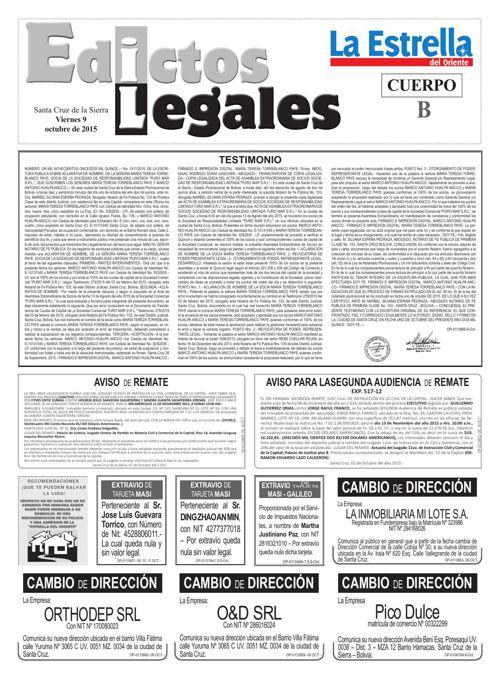 Judiciales 9 viernes - octubre 2015