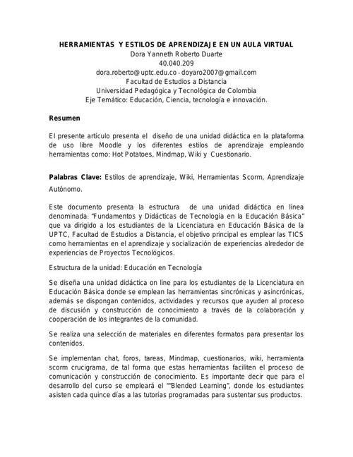 HERRAMIENTAS  Y ESTILOS DE APRENDIZAJE EN UN AULA VIRTUAL