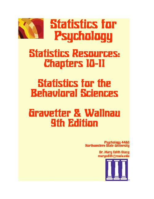 Statistics Resources Chs 10 & 11 9E