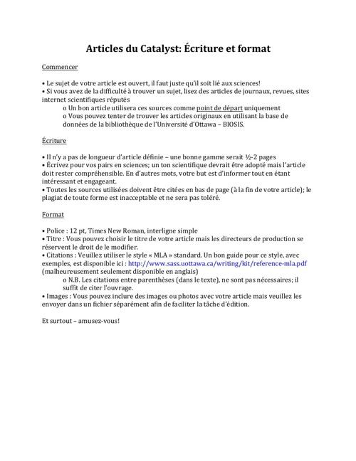 Articles du Catalyst: Écriture et format