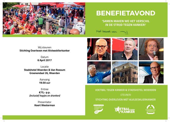 Uitnodiging benefietavond Stichting Voetbal tegen Kanker