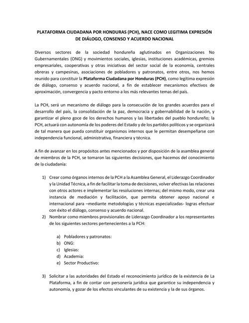 Comunicado Plataforma Ciudadana por Honduras
