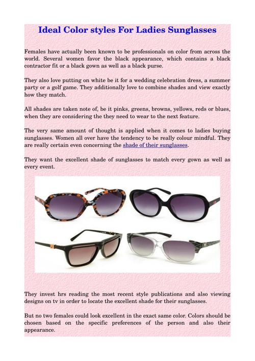 Ideal Color styles For Ladies Sunglasses