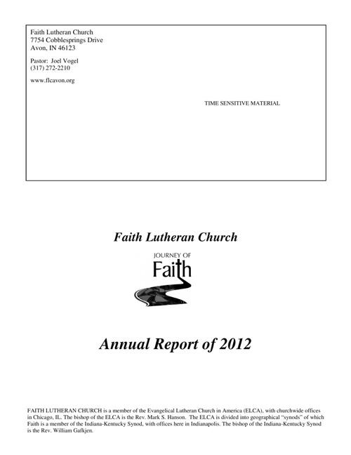 Faith Lutheran Church 2012 Annual Report