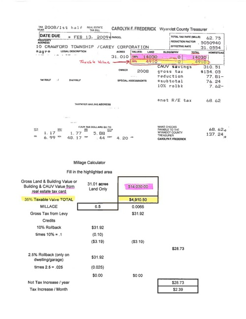 Example property tax.  Find your figures.