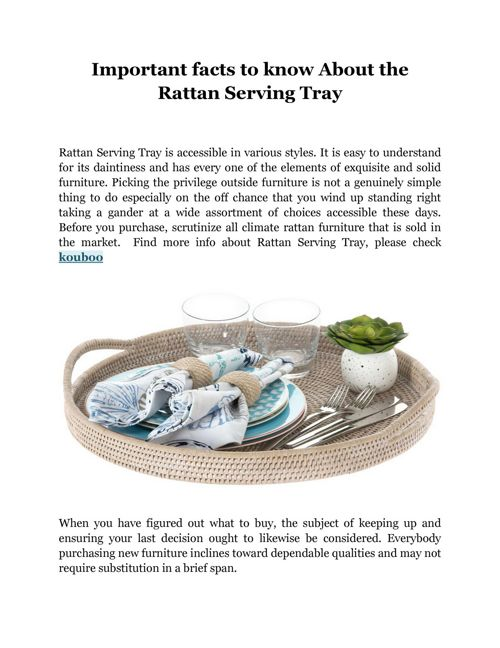 Important facts to know About the Rattan Serving Tray