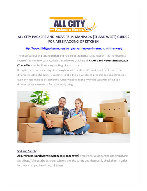 All City Packers and Movers in Manpada (Thane West)