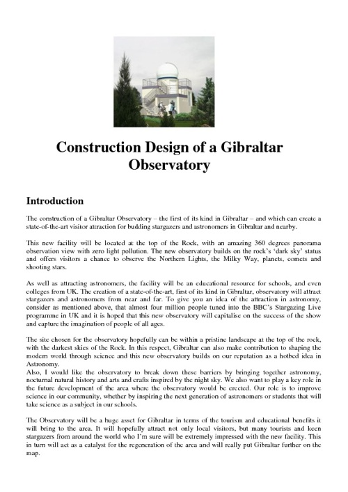 Gibraltar Observatory Project