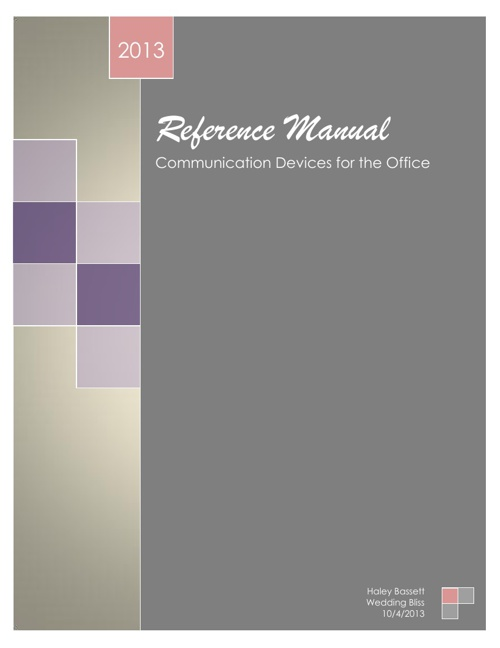 Communication Devices - Reference Mannual