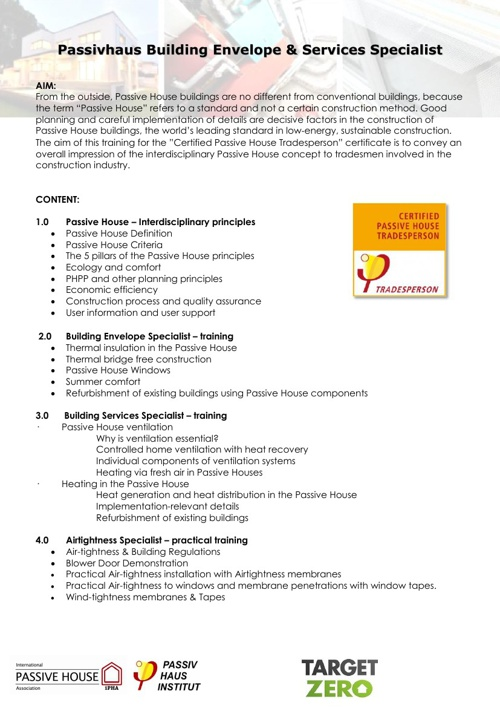Certified Passive House Tradesperson Course brochure
