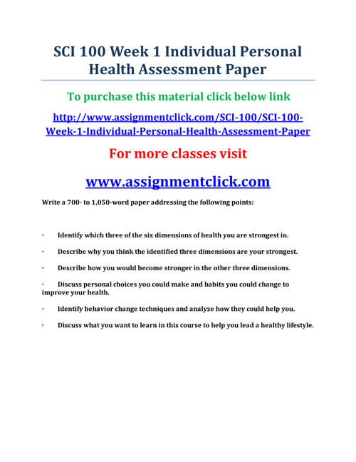 UOP SCI 100 Week 1 Individual Personal Health Assessment Paper