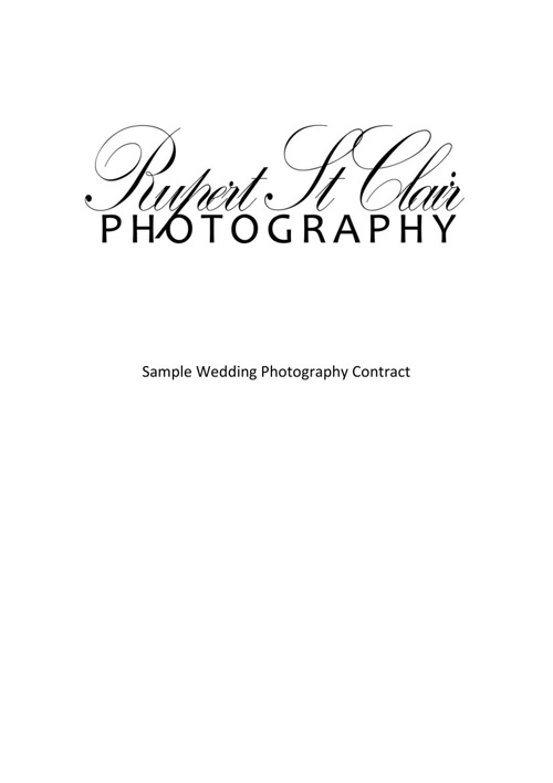 Rupert StClair Photography Wedding Contract