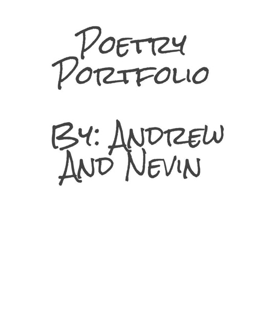 The Poetry Portfolio
