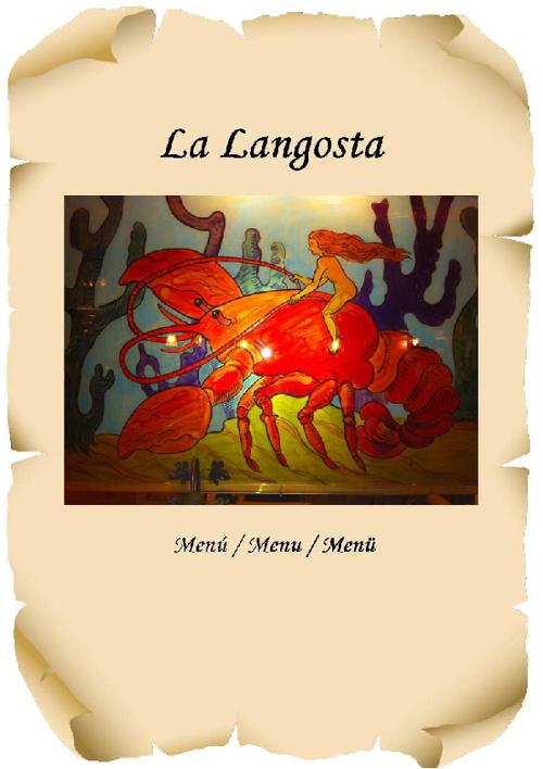La Langosta Menu / Menú / Menü