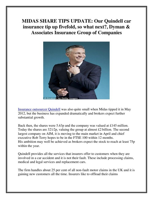 MIDAS SHARE TIPS UPDATE: Our Quindell car insurance tip up fivef