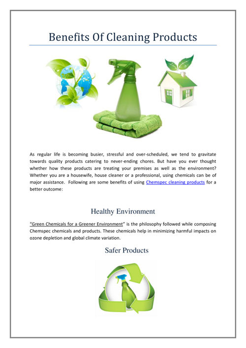 benefits of chemspec cleaning products