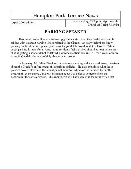 HPT Newsletter April 2006
