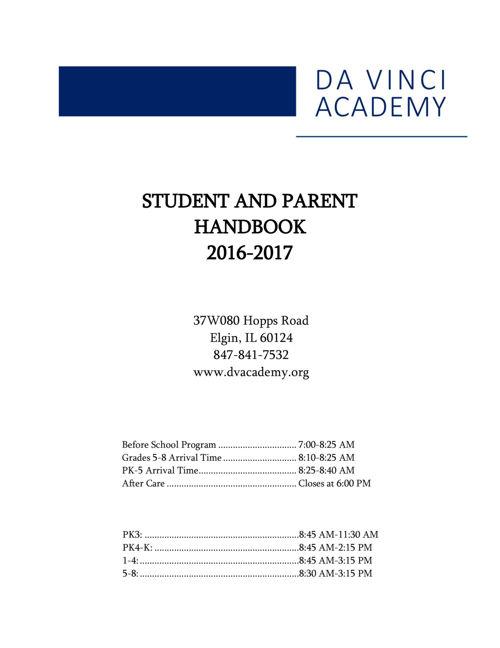 2016-17 Da Vinci Academy Student Parent Handbook