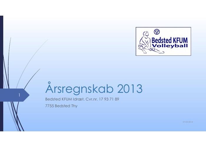 Regnskab 2013 - Bedsted KFUM