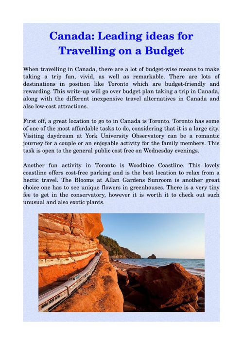 Canada: Leading ideas for Travelling on a Budget