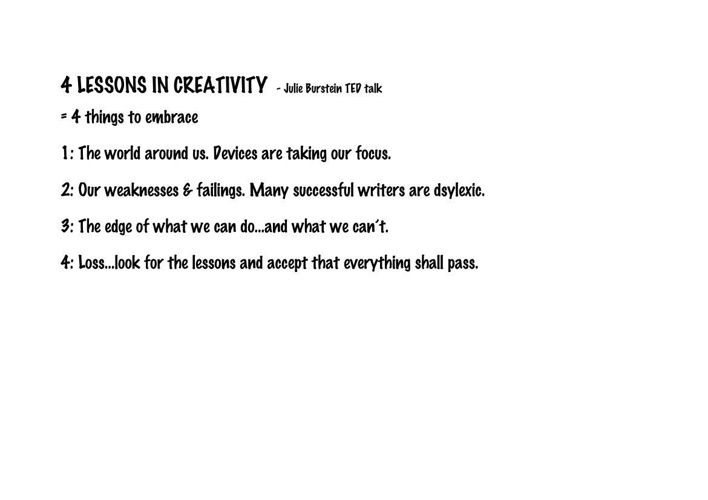 4 LESSONS IN CREATIVITY